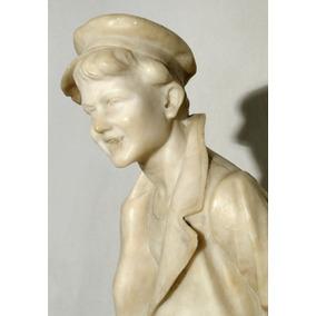 Escultura Italiana En Alabastro Tallado Joven Vestido 1930