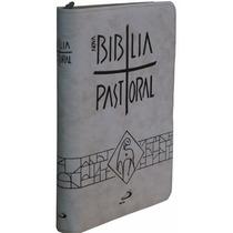 Bíblia Sagrada Pastoral Católica Letra Grande Zíper Creme