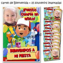 15 Souvenirs Manny A La Obra + Cartel Bienvenida Foto Cumple