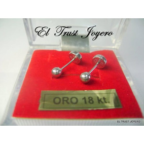 Aritos Abridores Oro Blanco 18k Nº3 El Trust Joyero Garantia