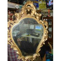 Antiguo Espejo Francés, Pintado En Dorado...