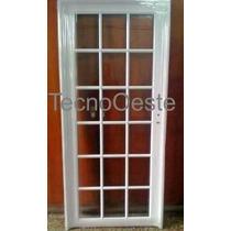 Puerta Exterior Aluminio Blanco Refozada Repartido 90x200