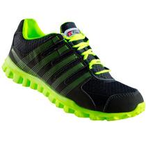 Tenis Correr Deportivo Gris Verde Neon Hombre Ruggel Galgo