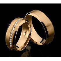 Par De Alianças Quero Casa Em Ouro 18 K E Diamantes