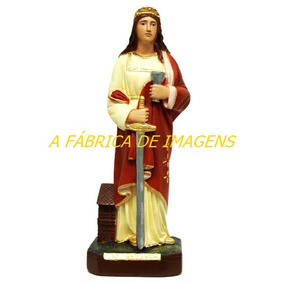 Escultura Santa Barbara Estatua Gesso Imagem 30cm Fabrica Ml