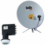 Kit Antena 75 Cm Ku Bedin Sat Oi Tv Hd + Lnbf Quadr. + Cabo
