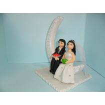 Casal De Noivinhos Biscuit Topo Bolo Casamento Lua De Mel
