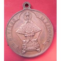Medalla Mexico Virgen De Zapopan Antigua 33 Mm Cobre Excelen