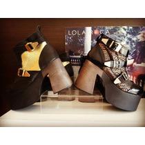 Lola Roca Bota Plataforma Cuero Mujer