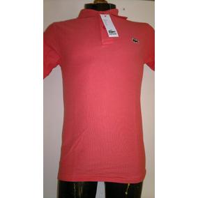 Camisa Playera Tipo Polo, Color Salmon Marca Lacoste