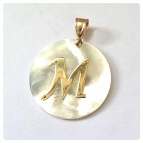 Pingente Madrepérola Inicial Do Nome Ouro 18k Com 2.5 Cm