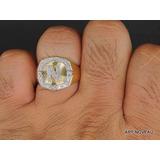 Anel Masculino Iniciais Nome Diamantes Em Ouro 18k Exclusivo