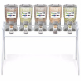 Kit Expositor 5 Dispensers De Ração 18l Para Pet Shops