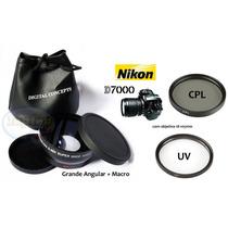 Kit 67mm Nikon D7000 D7100 D90 Grande Angular Macro Uv Cpl