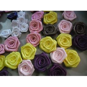 100rosa De Cetim Tam.2,3cm A 3cm,rosas,flor,laços,lacinhos,