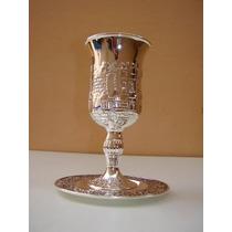 Taça De Vinho Prata Judaico Toda Trabalhada !!!