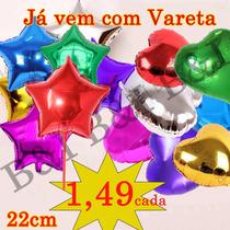 Balão Metalizado Para Centro De Mesa Estrela Ou Coração 22cm