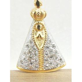 Pingente Nossa Senhora Aparecida Com Zircônia Folheada Ouro
