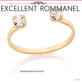 Anel Ajustavel Falange Cristal Fol. Ouro 18k Rommanel