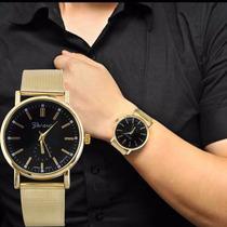Relógio De Pulso Aço Inoxidável Ouro Quartz Geneva