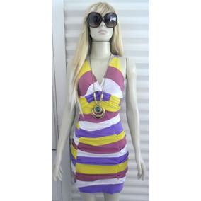 Vestido Listras Coloridas Tam M - Frete Grátis