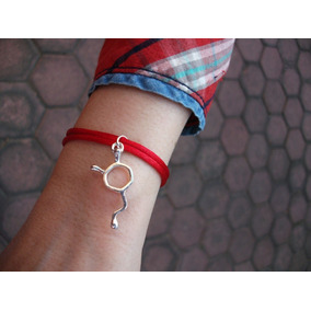 Pulsera Hilo Rojo Dije Amor Pasión Dopamina Molécula Plata