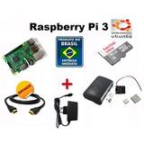 Kit Raspberry Pi 3 (pi3) Completo+fonte+sd16gb+case+sistema