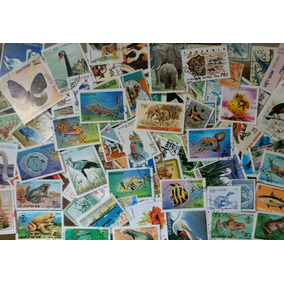 Lote Com 100 Selos Do Tema Fauna