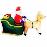 Papai Noel Com Rena De Natal Inflavel Decorativo No Treno