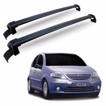 Rack De Teto Para Carro Citroen C3 Aluminio Preto