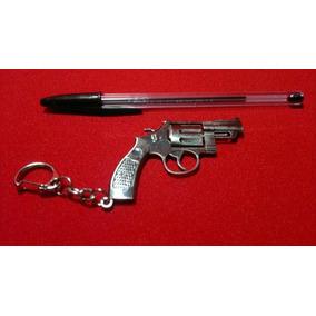 Chaveiro Antigo Miniatura Metal Revolver Arma Tiro