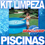 Kit De Limpeza P/ Piscina Aspirador E Peneira Intex Cloro Ht