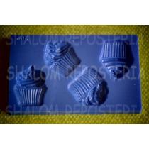 *mini Molde Tipo Silicon 4 Cupcakes Mantecadas Fondant*