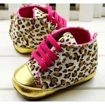 Pronta Entrega Sapatinho Leopardo Oncinha Dourado Bebê