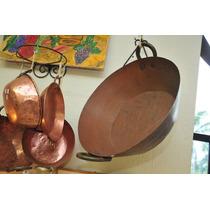 Antigo Tacho De Cobre Grande Com Alças Em Bronze