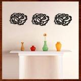 Trio Quadros Decorativos Escultura De Parede Mdf Rosas 40 Cm