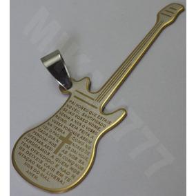Pingente Masculino Guitarra Violão Oração Pai Nosso Aço Inox
