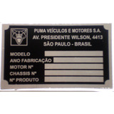 Plaqueta De Identificação - Puma Veículos