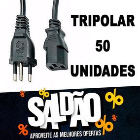 50 Unidades - Cabo Força Tripolar P/ Cpu,impressora E Fonte