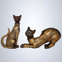 Par De Gatos - Escultura Estátua Estatueta