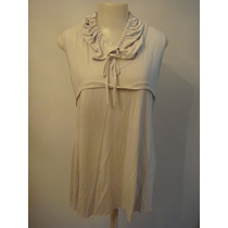 Vestido Mini Vest Blusa Cinza Detalhe Gola Tam. G