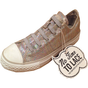 Zapatillas Converse All Star Nena Gliter Sin Cordones Brillo