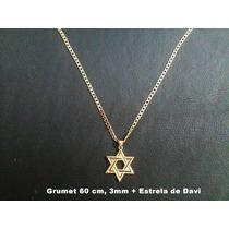 Corrente Grumet 2 Banhos Ouro 18k, 60cm 3mm, Estrela De Davi