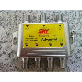 Kit 2 Chaves Comutadora 3x4 Sky Advansat Telesystem