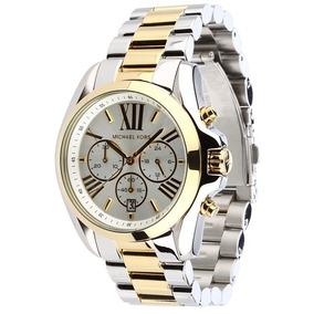 Relógio Michael Kors Mk5627 Dourado Prata Original Oversize
