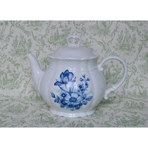 Tetera Porcelana Verbano Bouquet Azul Relieve