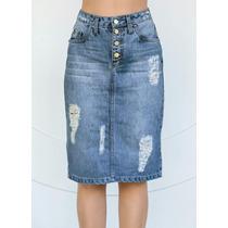 Moda Evangélica Saia Jeans Destroyed Azul Justa Detonada