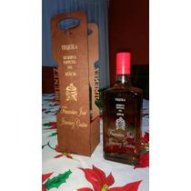 Estuche Madera Corte Laser Botella Grabada Y Tequila