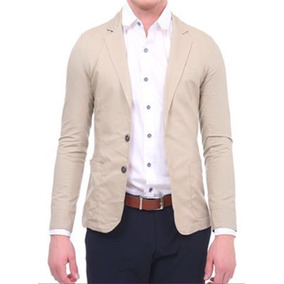 Saco Blazer Liso Hombre Slim Fit Fashion Talla L Color Arena