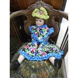 Muñeca En Porcelana Y Madera Alemana Antigua